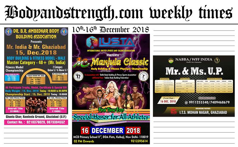 Bodyandstrength.com Weekly Times: 10th December to 16th December