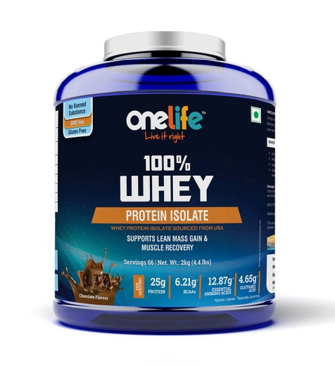 ONELIFE 100% WHEY PROTEIN ISOLATE : SUPPORTS LEAN MASS GAIN & MUSCLE RECOVERY - CHOCOLATE - 2KG