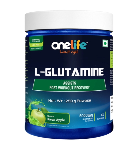 ONELIFE GLUTAMINE GREEN APPLE FLAVOUR POWDER: POST WORKOUT RECOVERY, 250G